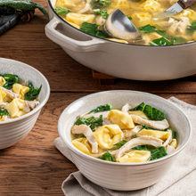 Lemon Chicken Broth Bowl with Kale & Cheese Tortellini
