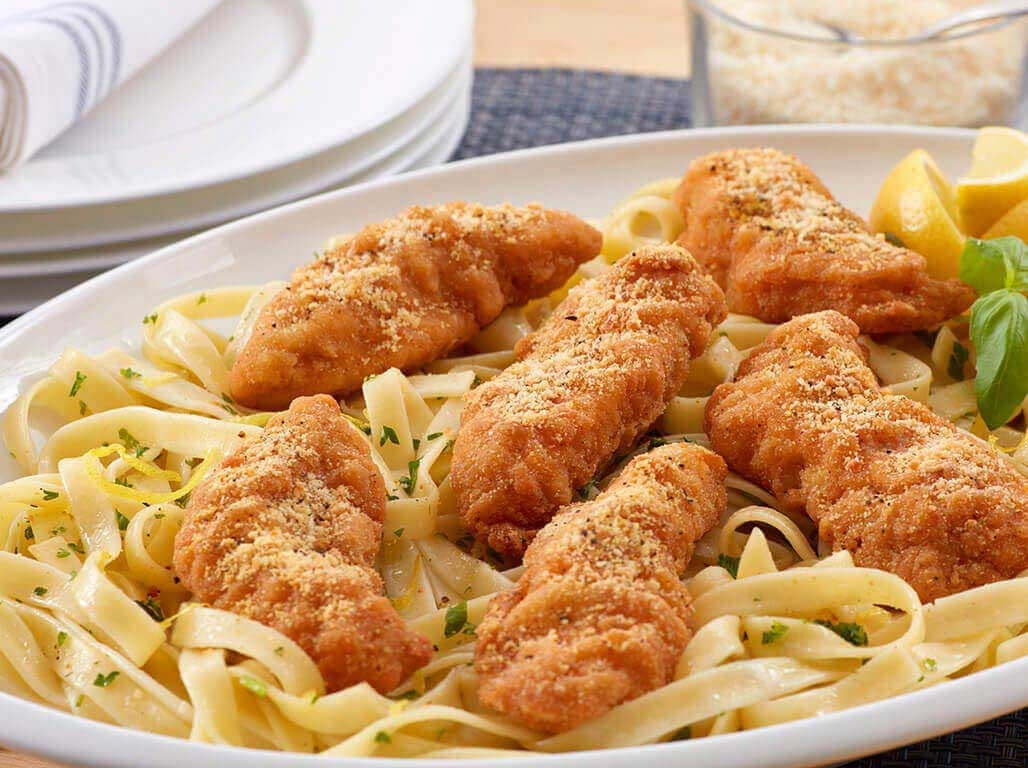 lemon parm chicken strips with herb buttered fettucine perdue