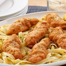 Lemon Parm Chicken Strips with Herb-Buttered Fettucine