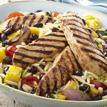 Grilled Mango Chicken Orzo Salad