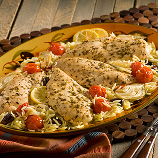Mediterranean Chicken with Roasted Vegetable Orzo