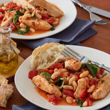 One Pot Tuscan Chicken with White Beans