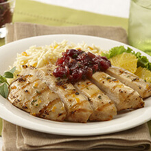 Grilled Orange Maple Glazed Chicken Breast with Cranberry Relish