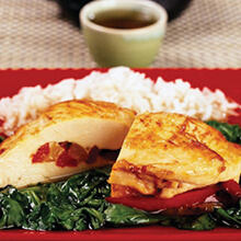 Pepper-Stuffed Chicken Breasts with Spinach