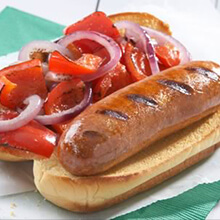 Grilled Italian Sausage with Red Pepper and Red Onion