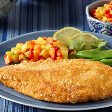 Potato Crusted Chicken Breast with Tropical Fruit Salsa