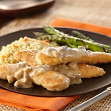 Braised Chicken Tenderloins with Creamy Mushroom Sauce