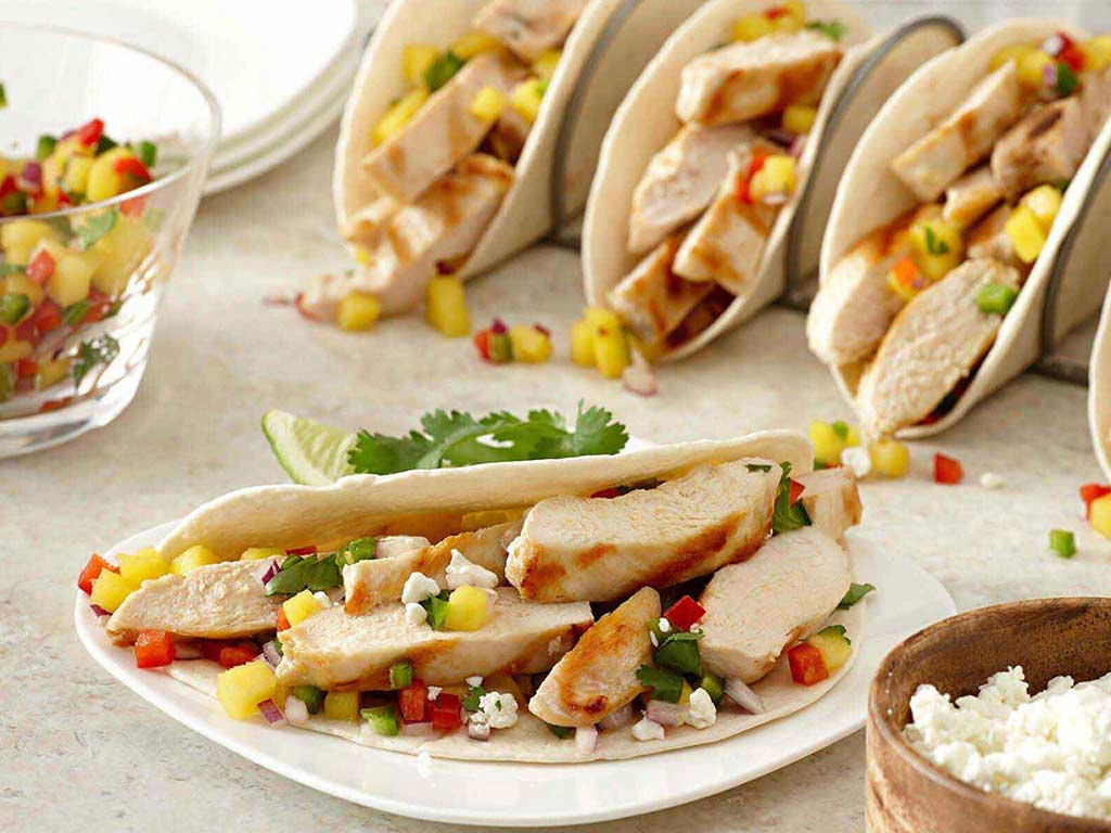 Grilled Chicken Tacos and Spicy Mango Salsa | PERDUE®