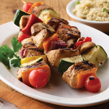 5 Ingredient Grilled Rainbow Diced Chicken Kebabs