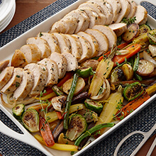 Sheet Tray Roasted Chicken And Vegetables