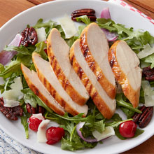 Grilled Mojo Chicken Salad with Cherries, Manchego Cheese and Pecans
