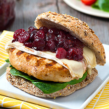 Turkey Burgers with Cranberry Chutney and Brie