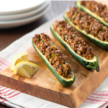 Bulgur and Turkey Stuffed Zucchini